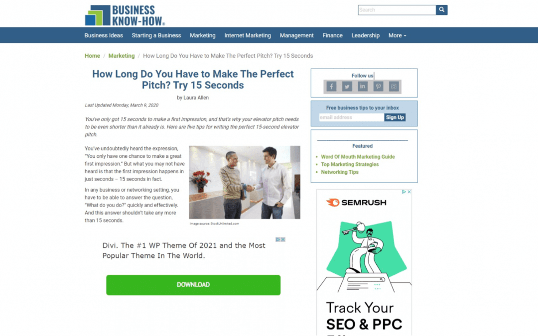 How Long Do You Have to Make The Perfect Pitch? Try 15 Seconds